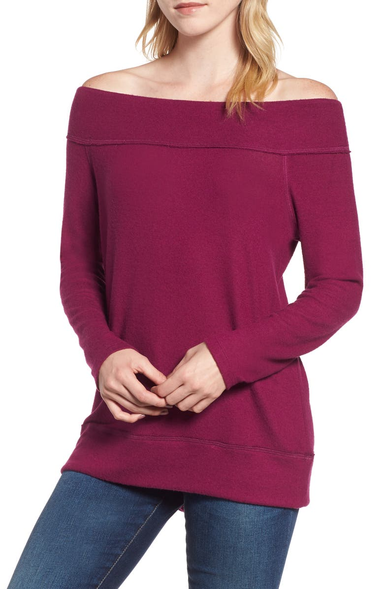 GIBSON x Living in Yellow Mary Fleece Off the Shoulder Top, Main, color, DEEP VIOLET