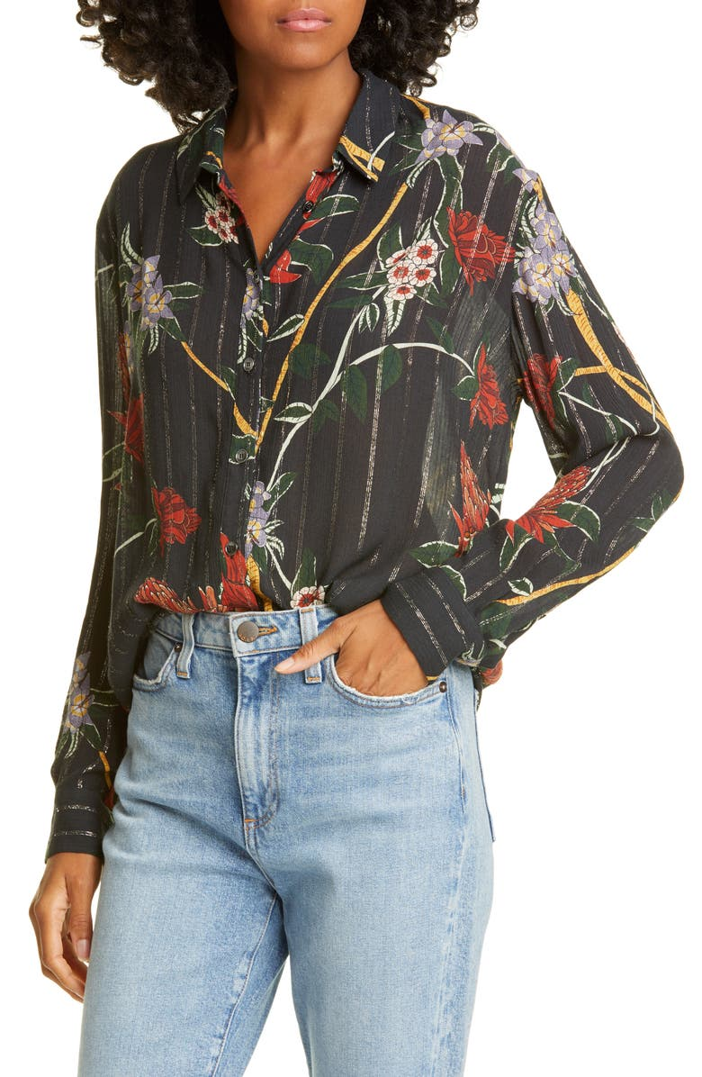 BA&SH Petunia Floral Metallic Stripe Shirt, Main, color, NOIR