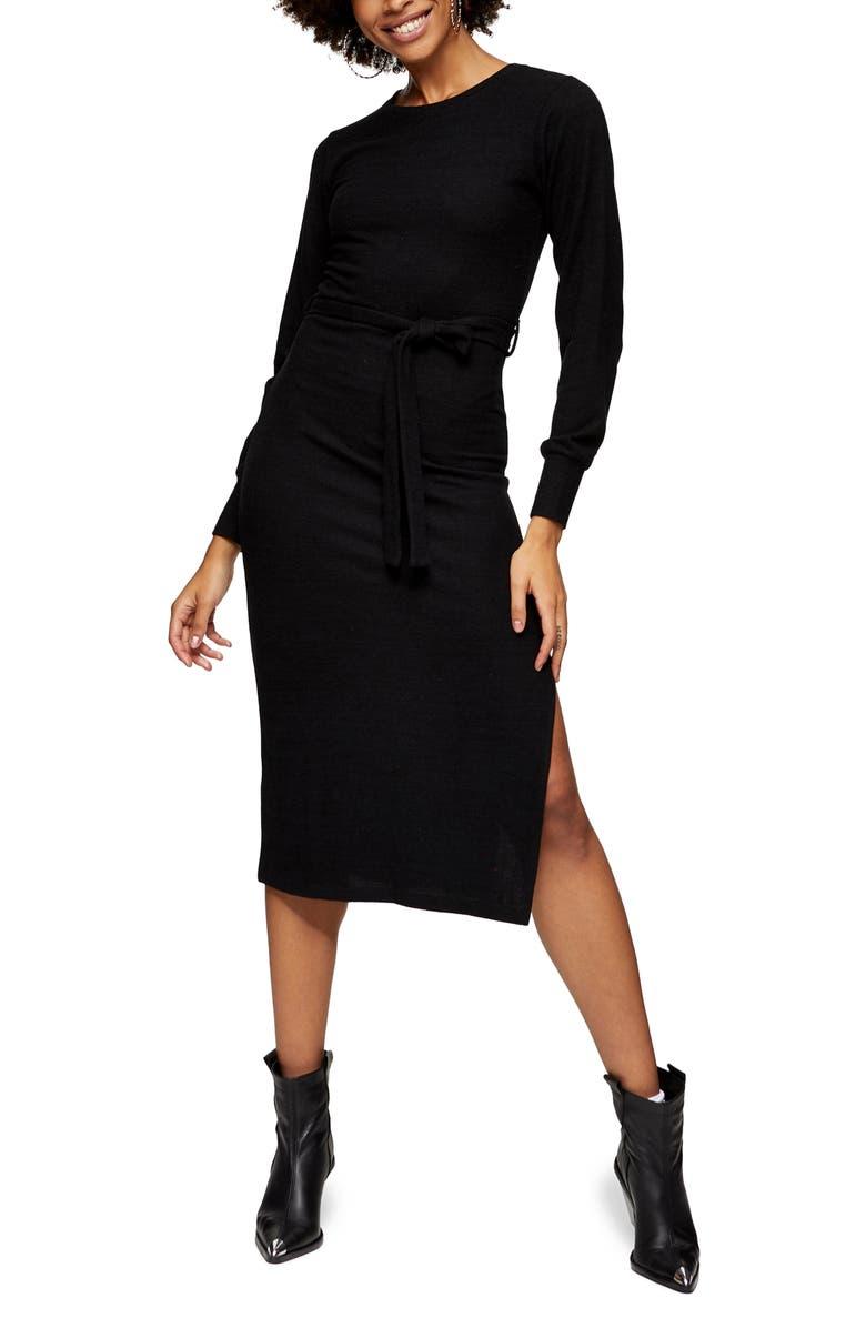 TOPSHOP Long Sleeve Knit Midi Dress, Main, color, BLACK