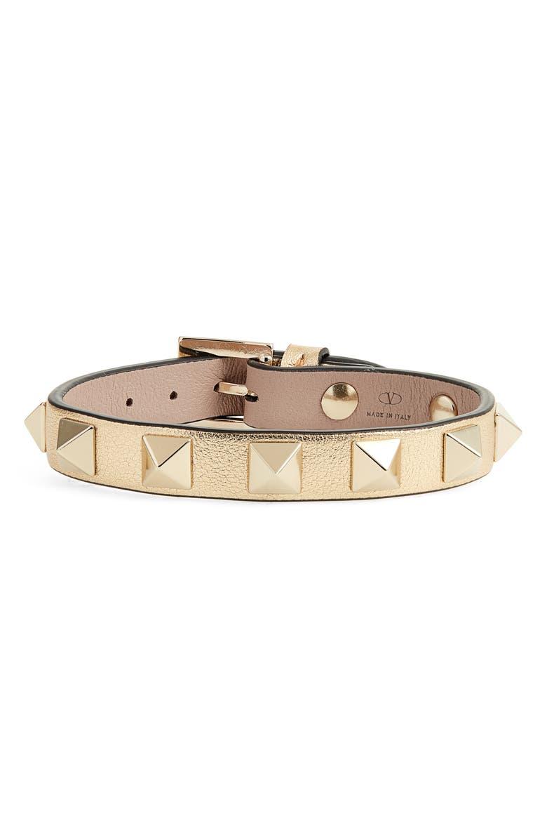 VALENTINO Rockstud Small Leather Bracelet, Main, color, POUDRE