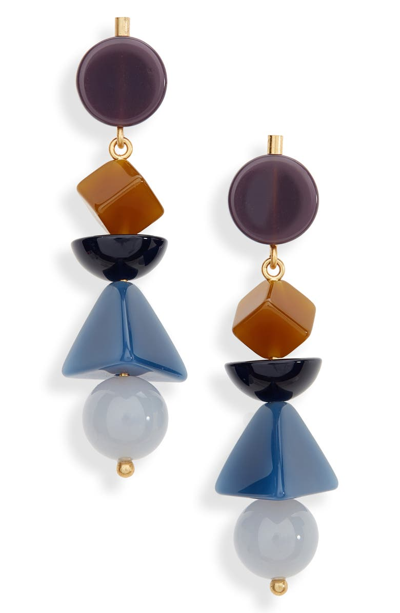 MADEWELL Geometric Stack Statement Earrings, Main, color, BLUE SHADOW MULTI