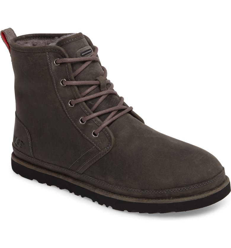 UGG<SUP>®</SUP> Harkley Plain Toe Waterproof Boot, Main, color, CHARCOAL