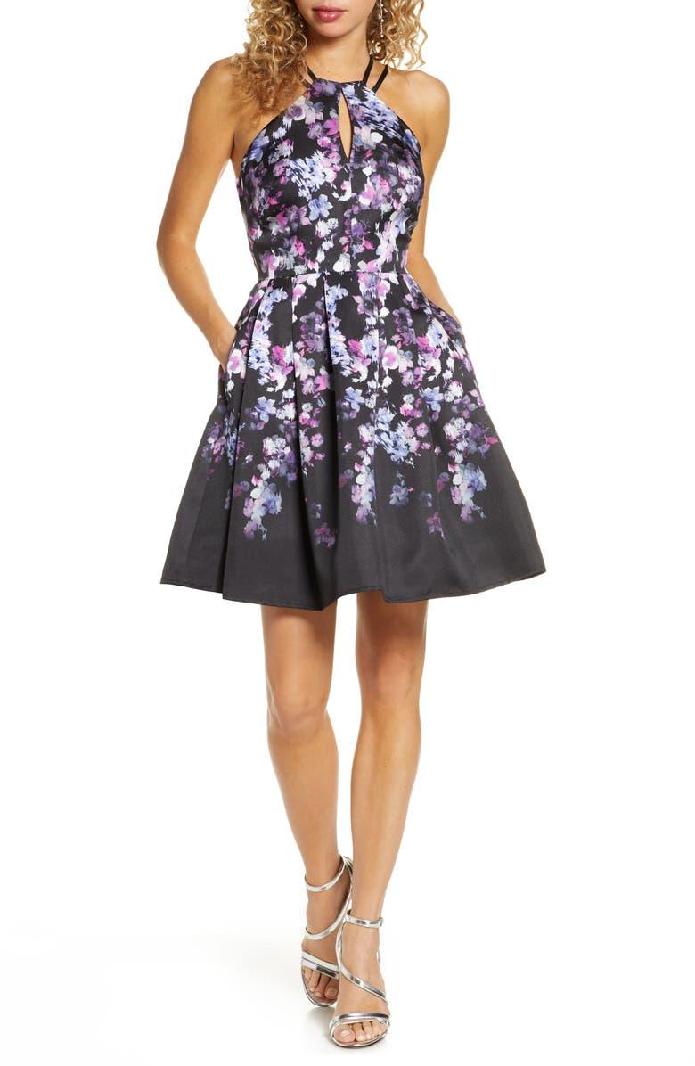 MORGAN & CO. Mikado Floral Fit & Flare Dress, Main, color, BLACK/ PINK