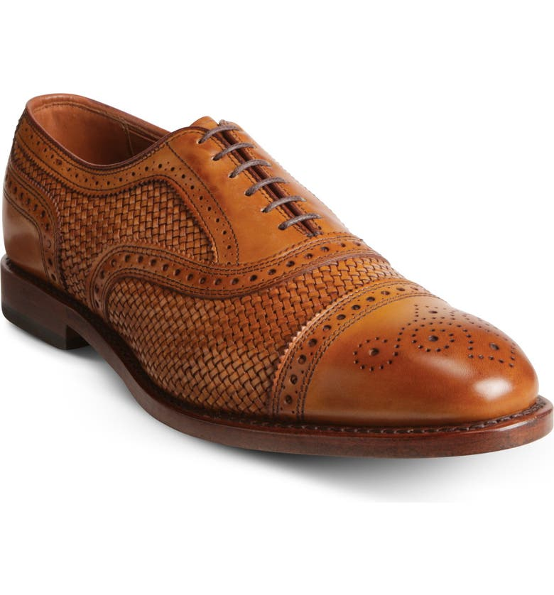 ALLEN EDMONDS Strand Weave Toe Oxford, Main, color, WALNUT