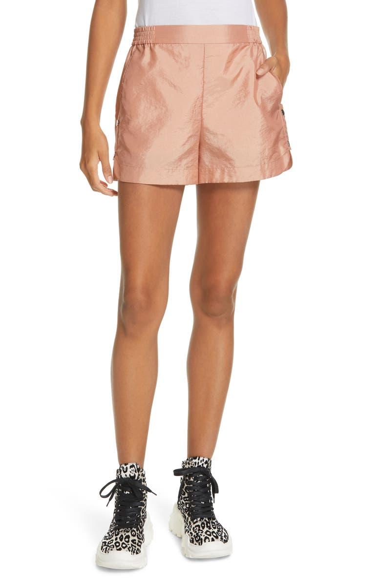 TIBI Side Snap Shorts, Main, color, PEACH
