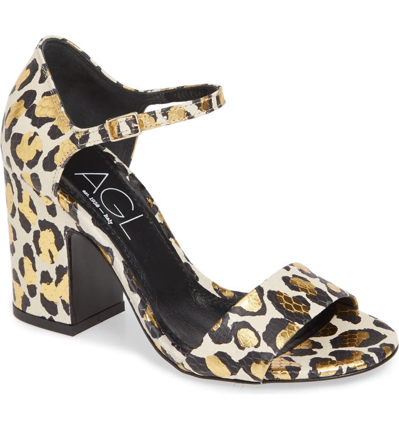 AGL Snake Embossed Leopard Print Sandal, Main, color, 101