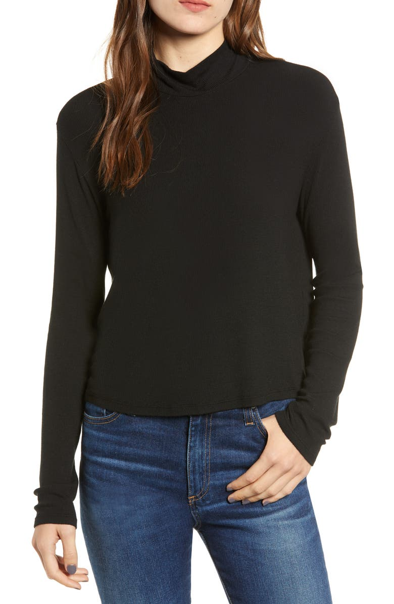 SPLENDID Ribbed Mock Neck Crop Top, Main, color, BLACK