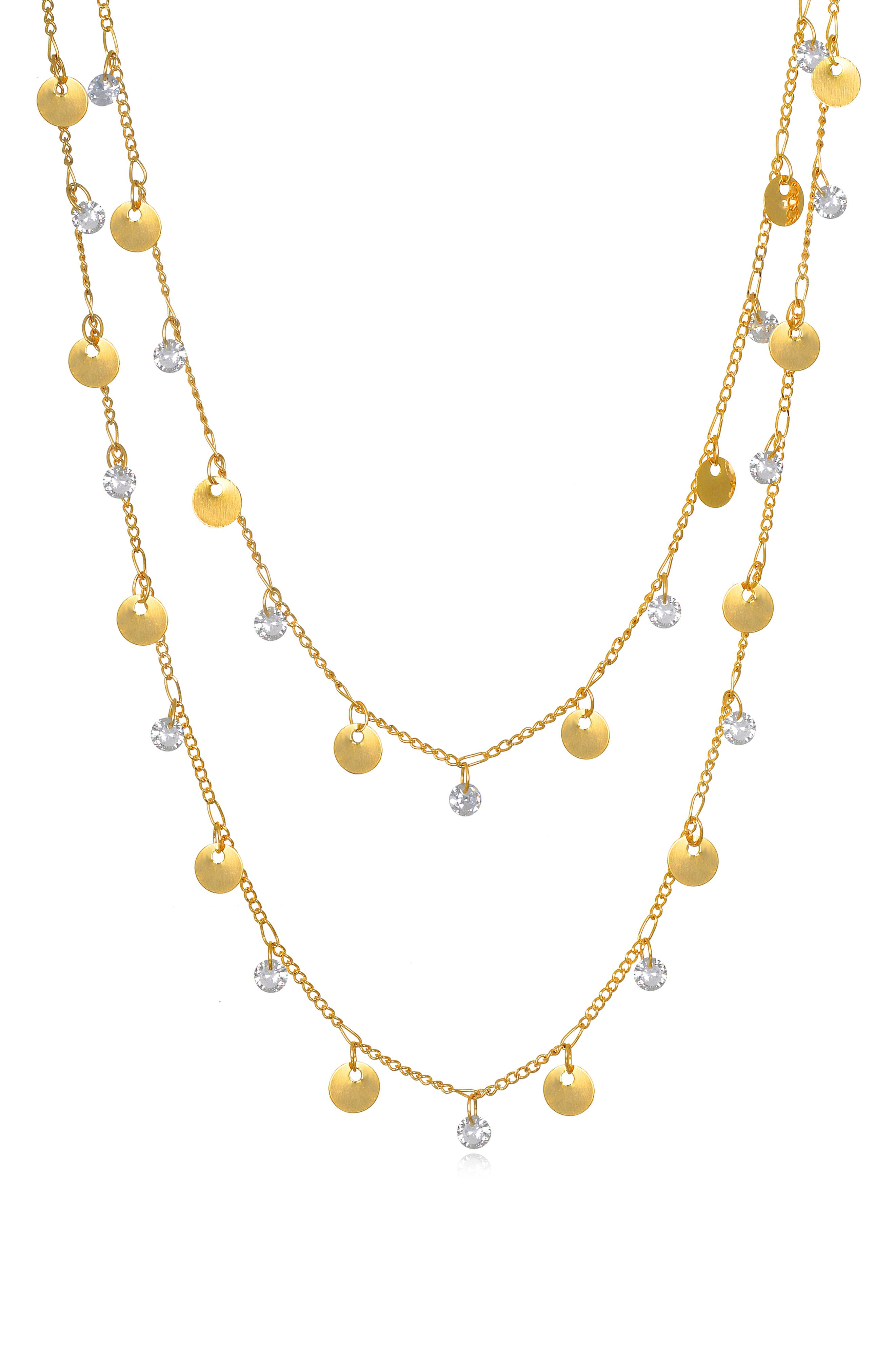 Amelia Rose Catalina Sparkle Layer Necklace in Gold at Nordstrom
