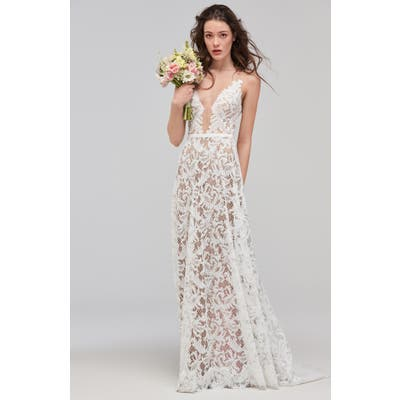 Willowby Asa Sleeveless V-Neck Lace & Tulle Wedding Dress, Ivory