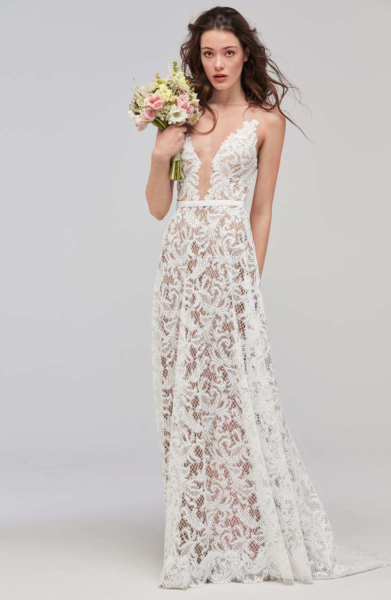 WILLOWBY Asa Sleeveless V-Neck Lace & Tulle Wedding Dress, Main, color, IVORY/SUNKISS