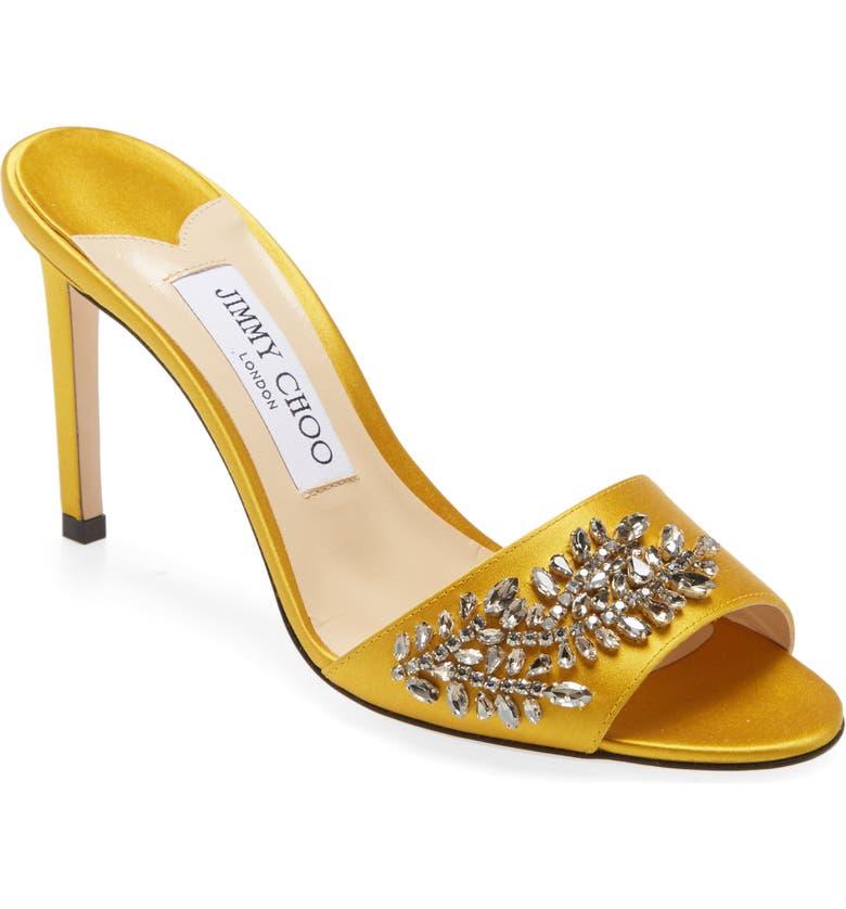 JIMMY CHOO Stacey Crystal Embellished Slide Sandal, Main, color, SUN
