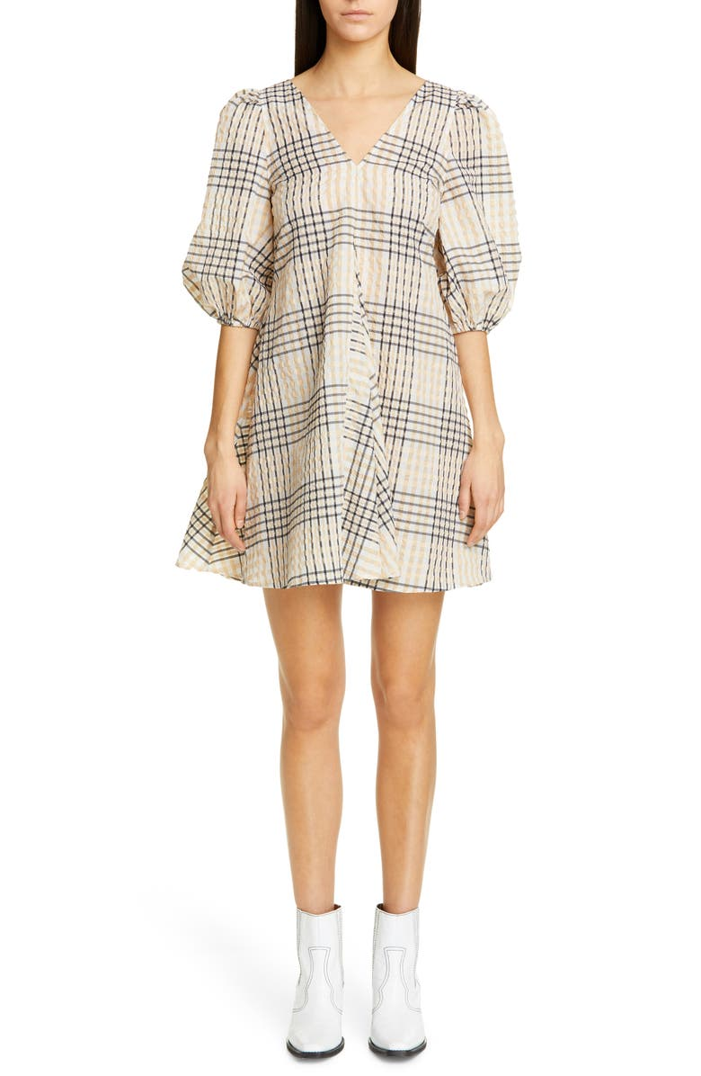 GANNI Check Seersucker Trapeze Dress, Main, color, IRISH CREAM