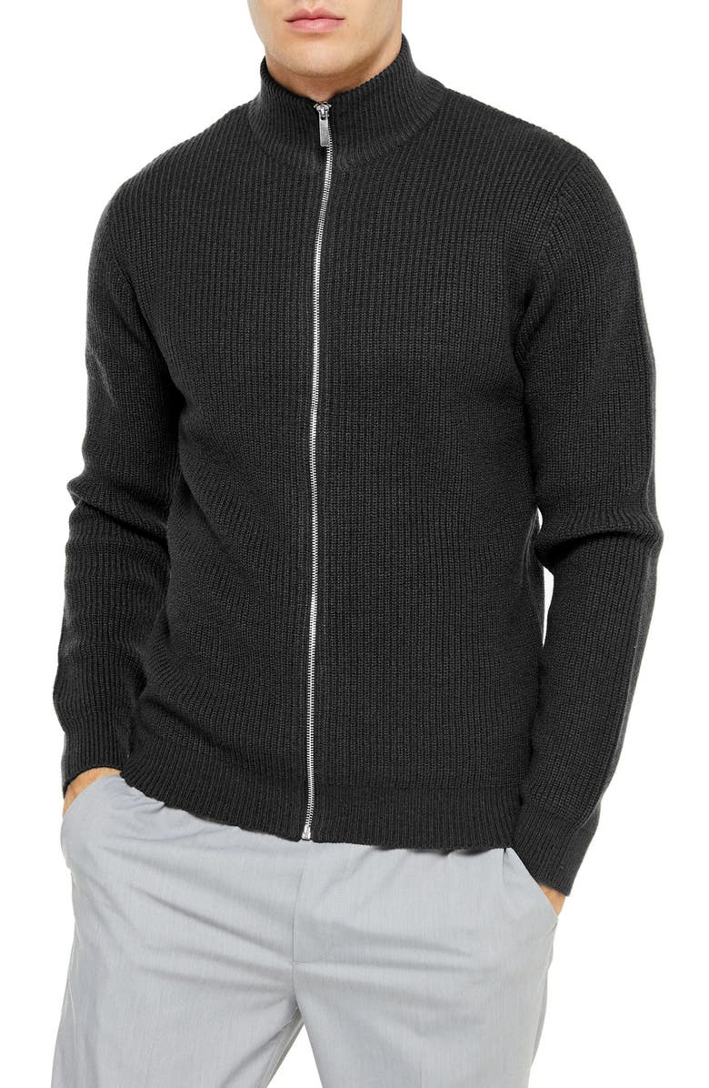 TOPMAN Classic Fit Zip Sweater, Main, color, CHARCOAL
