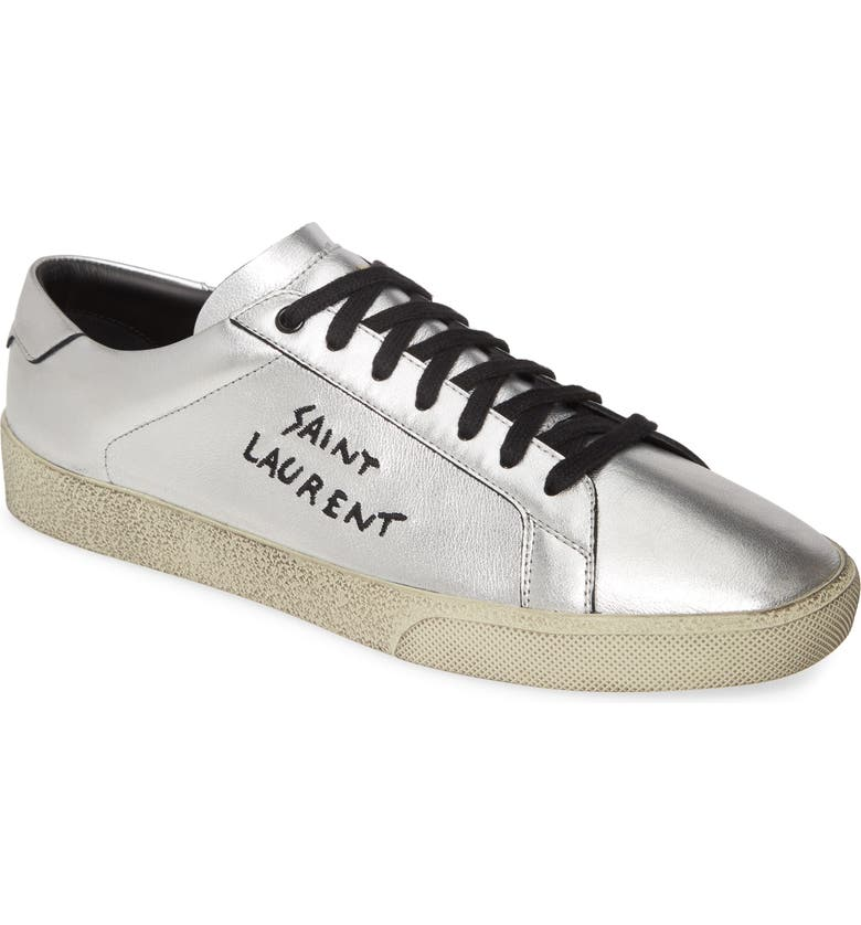 SAINT LAURENT Low Top Sneaker, Main, color, SILVER/ NERO