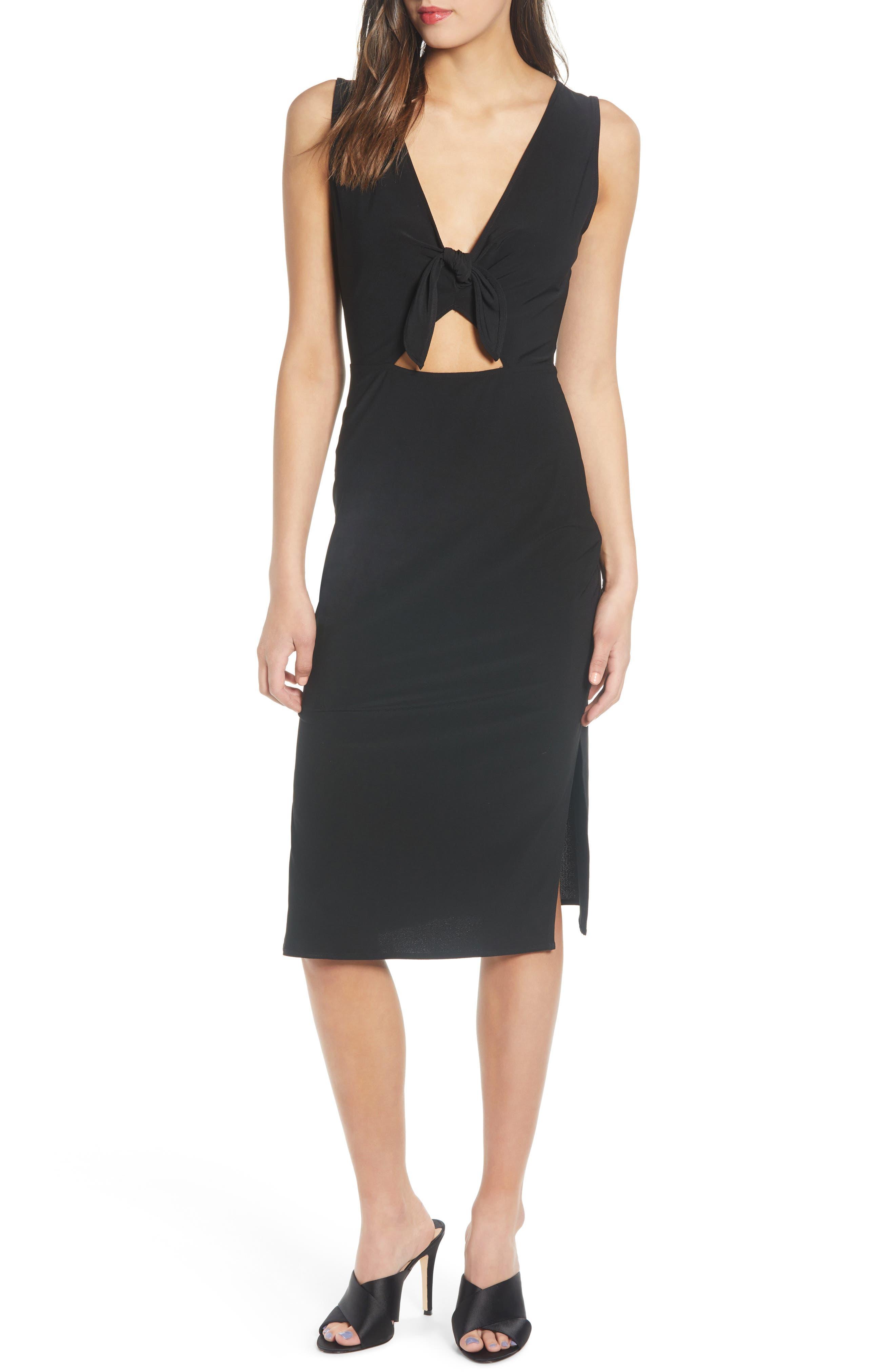 Leith Tie Front Midi Dress, Black