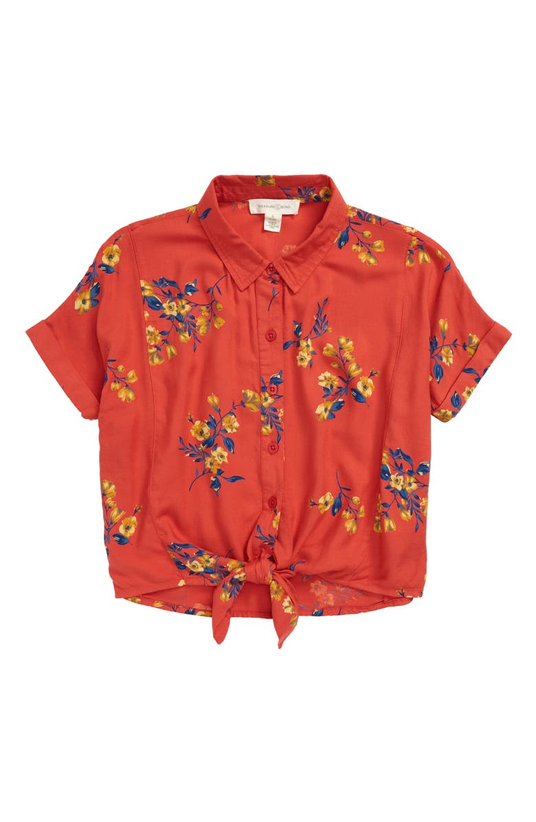 TREASURE & BOND Tie Hem Woven Shirt, Main, color, RED MUM VINE FLORAL