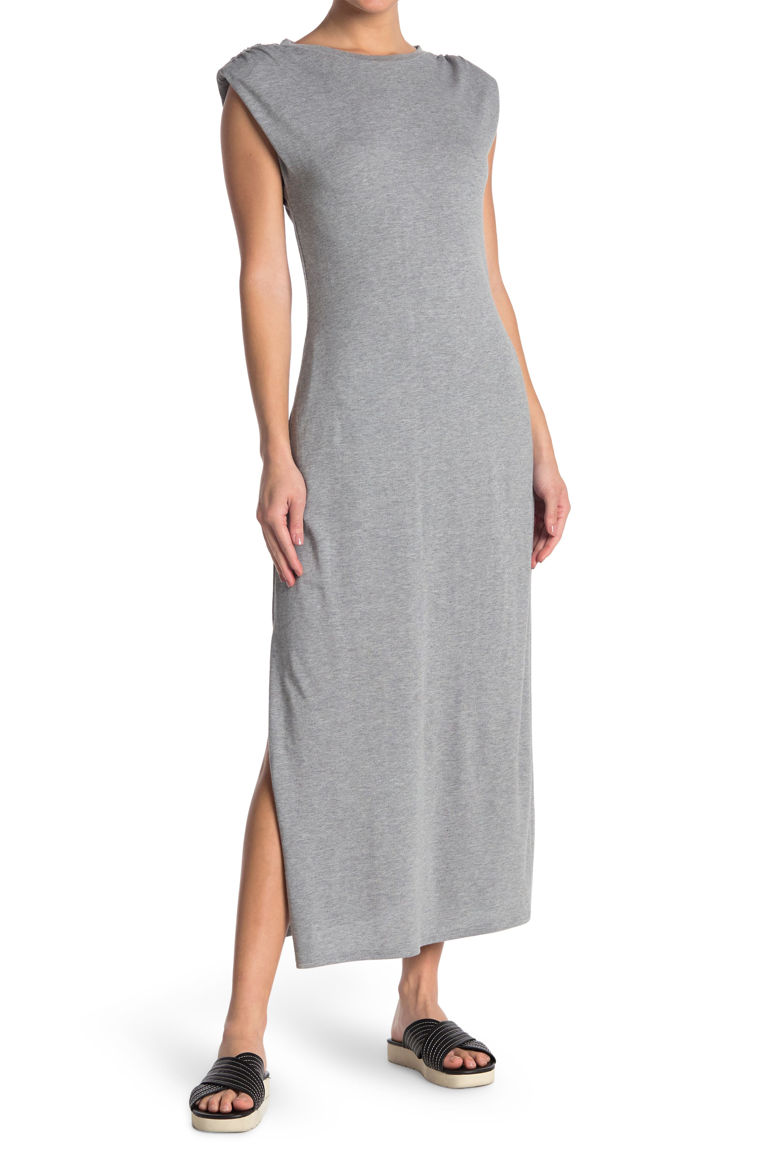 Melloday Padded Shoulder Cozy Midi Dress In Heather Grey