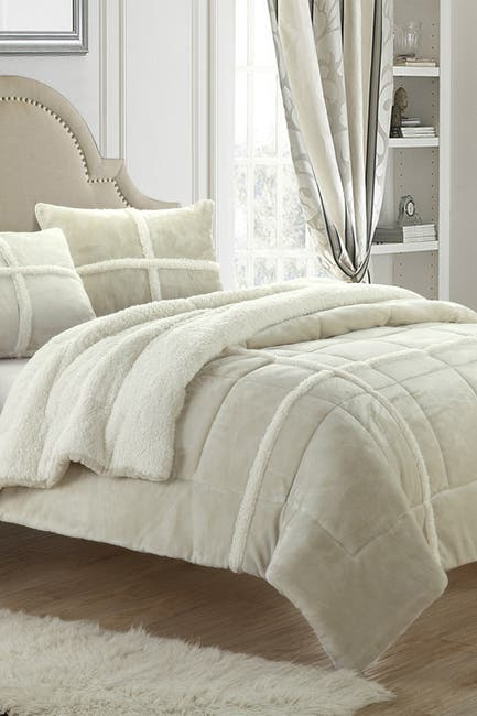 Image of Chic Home Bedding Twin XL Camille Box Sherling Lined Comforter Set - Beige