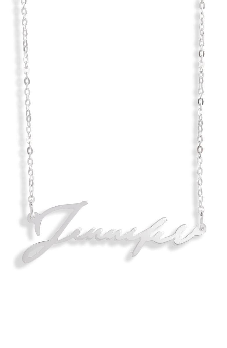 ARGENTO VIVO Personalized Script Name Necklace, Main, color, SILVER