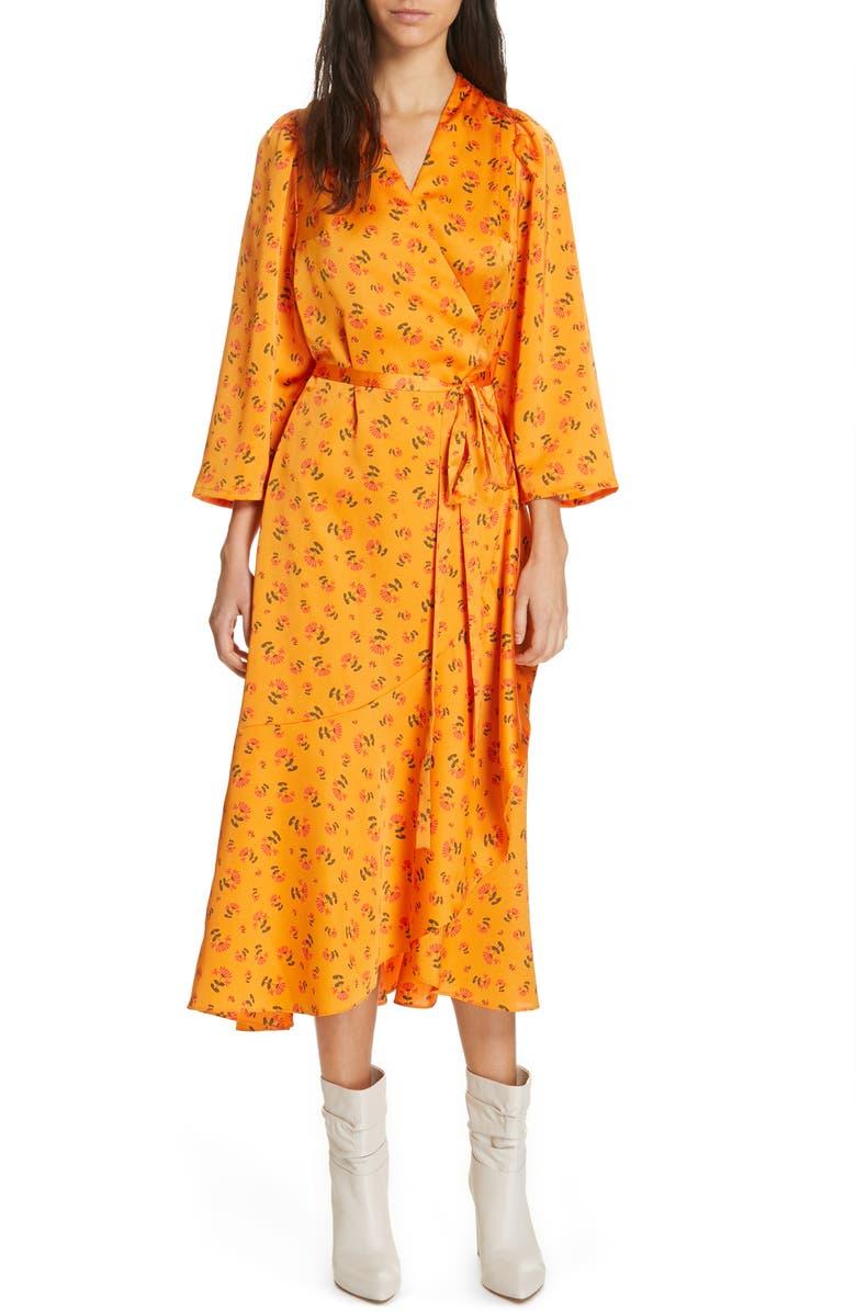 RODEBJER Miliana Floral Print Satin Wrap Dress, Main, color, ORANGE PRINT