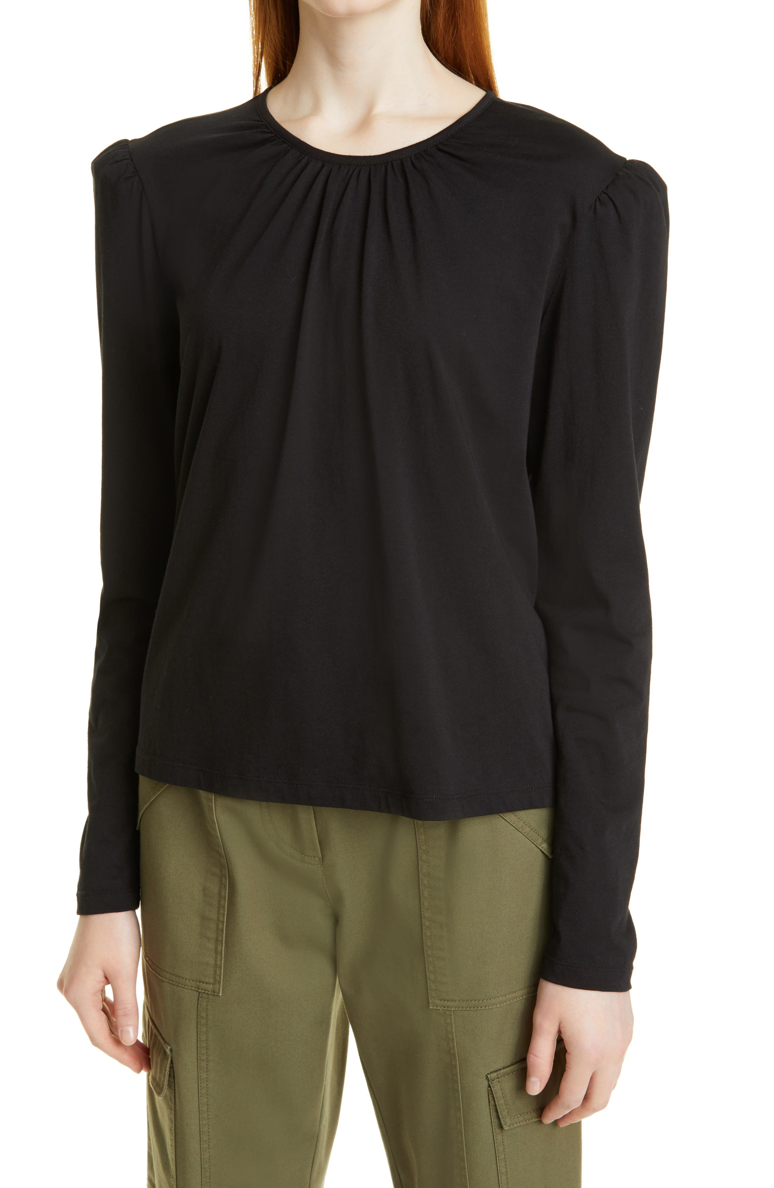 Kary Puff Shoulder Long Sleeve Cotton Knit Top