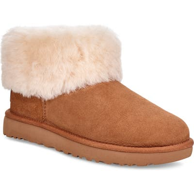UGG Classic Mini Fluff Genuine Shearling Bootie, Brown