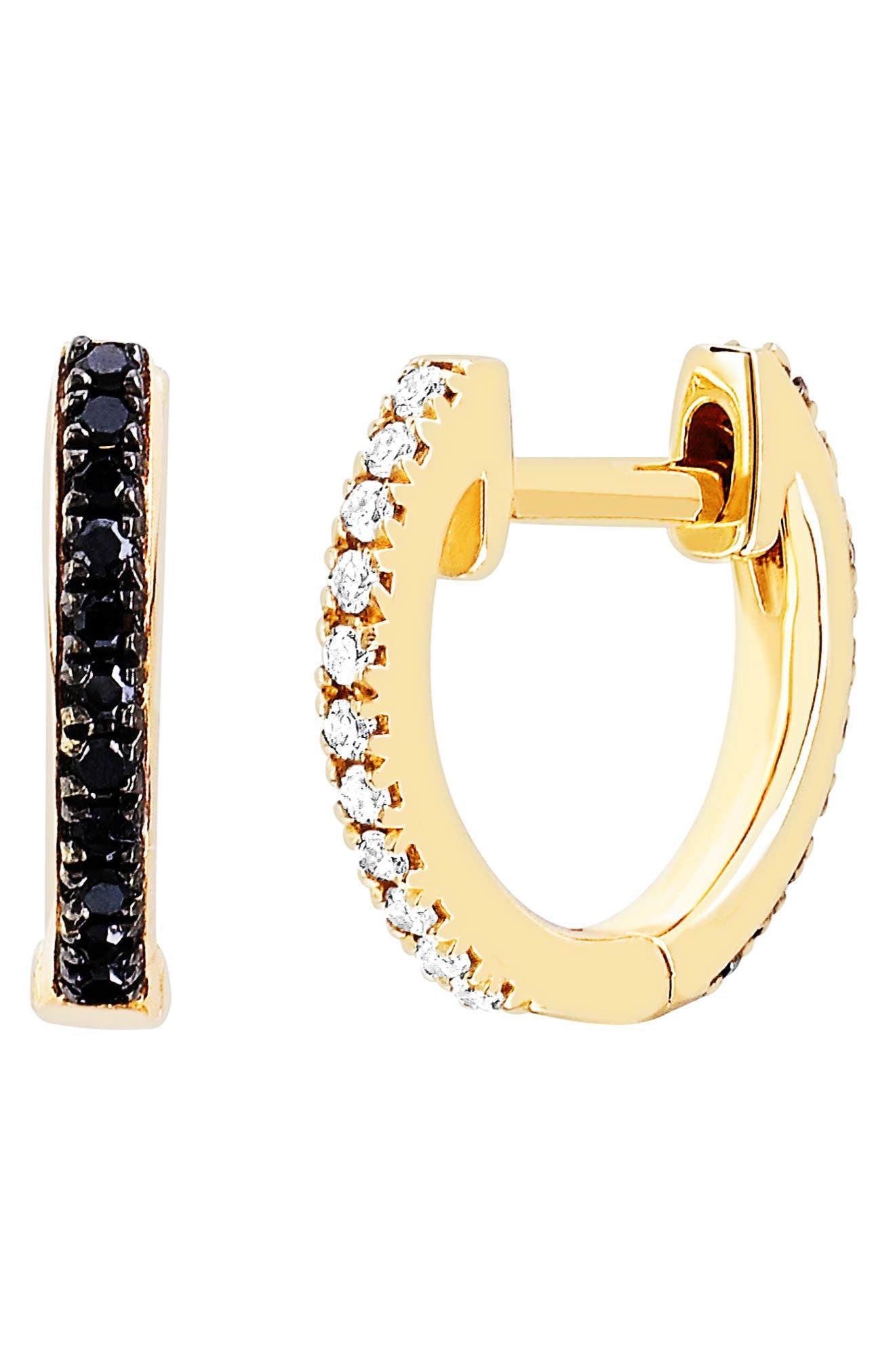 Black & White Diamond Reversible Huggie Earrings