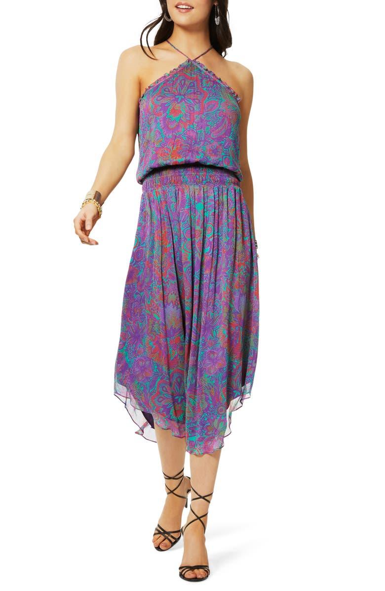 RAMY BROOK Chloe Halter Neck Smock Waist Dress, Main, color, BOYSENBERRY COMBO