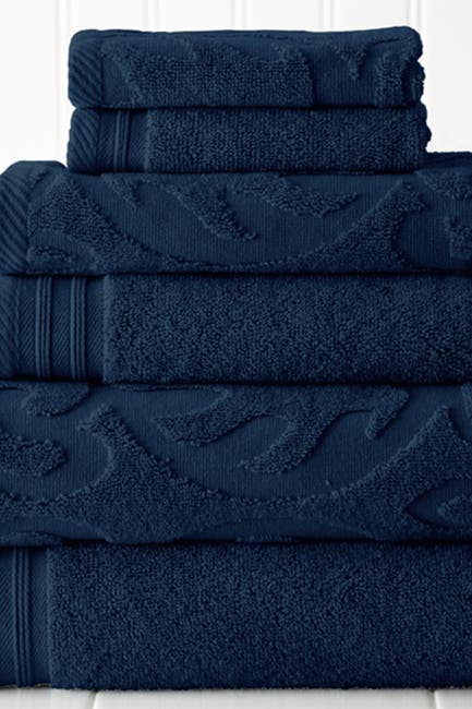 Image of Modern Threads Jacquard Medallion Swirl Solid 6-Piece Towel Set - Denim