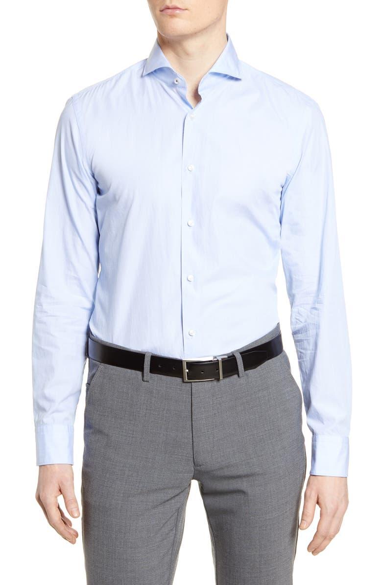 BOSS Slim Fit Solid Dress Shirt, Main, color, LIGHT BLUE