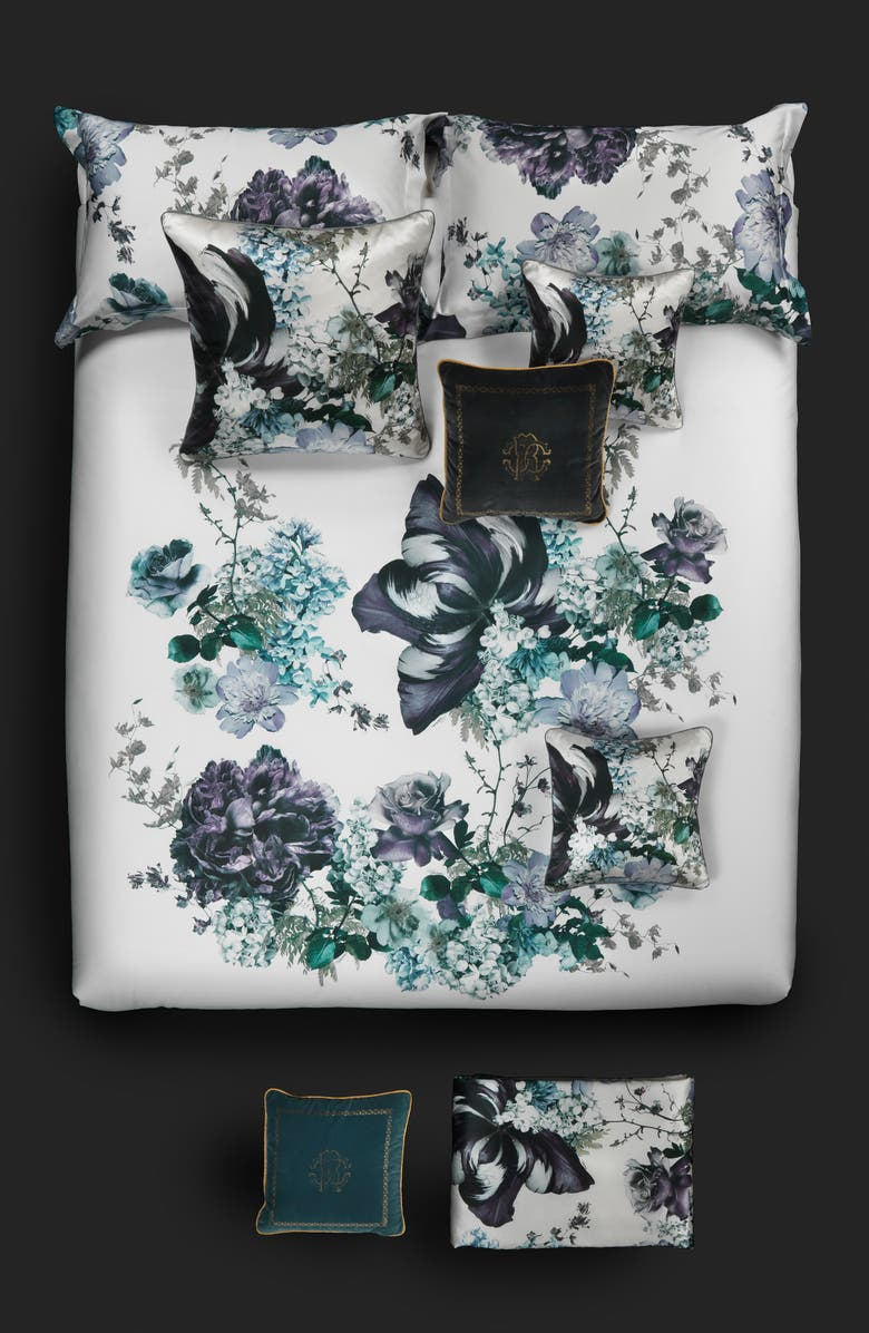 ROBERTO CAVALLI Floris Duvet Cover, Main, color, BLUEMULTI