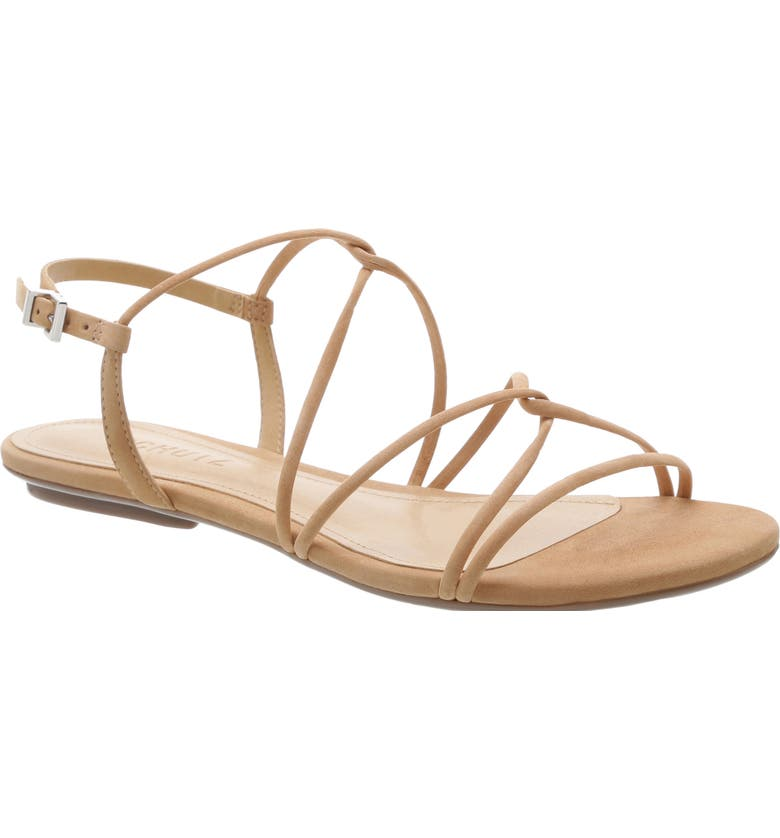 SCHUTZ Boyet Sandal, Main, color, HONEY BEIGE NUBUCK LEATHER