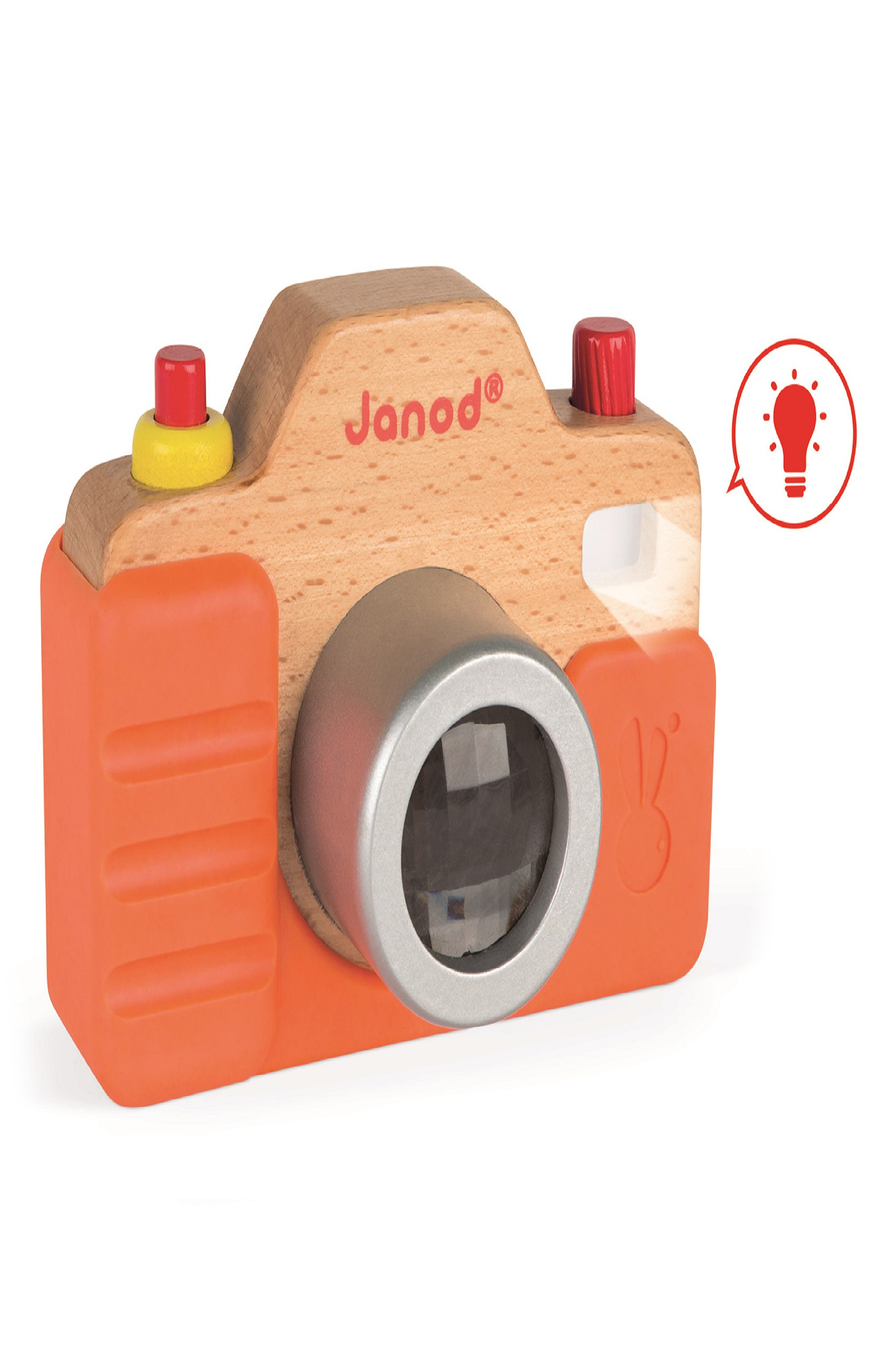 Encourage your playpen paparazzi toward a photography Pulitzer with this toy camera that has a working flash, a shutter click and a kaleidoscope lens view. Style Name: Janod Sound And Flash Camera. Style Number: 5942452. Available in stores.