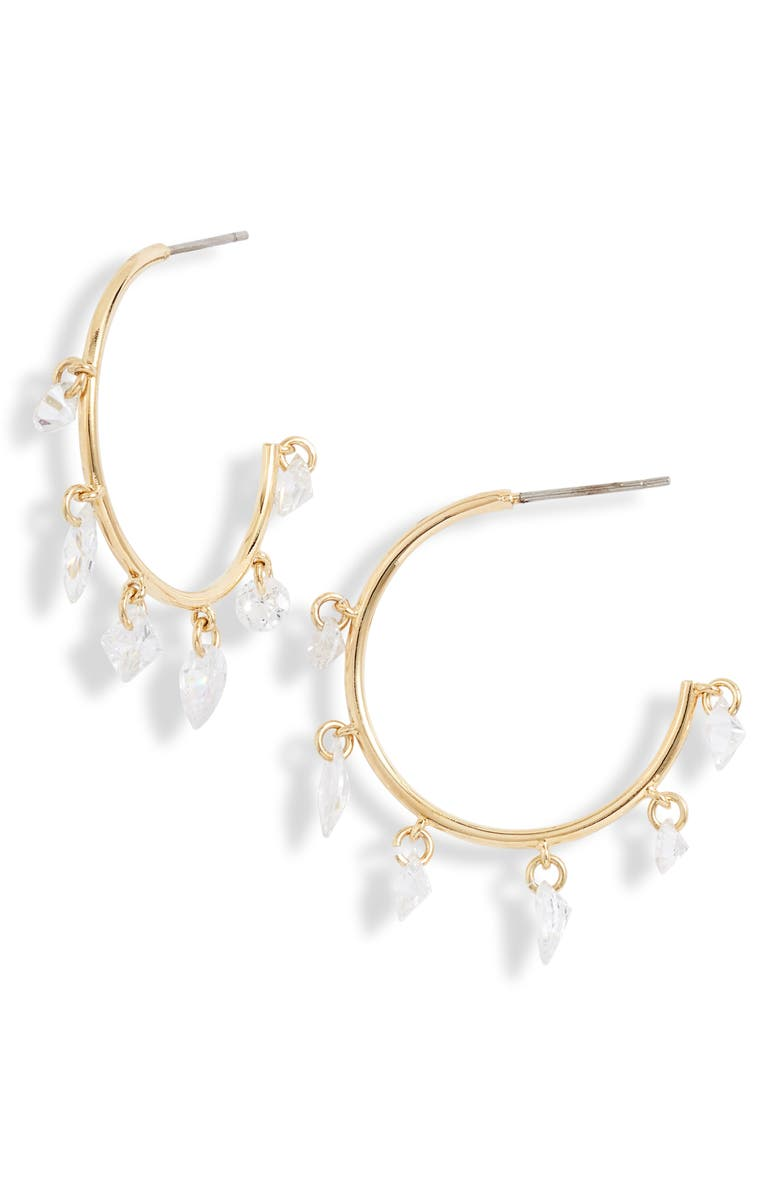 Floating Cubic Zirconia Shaker Hoop Earrings