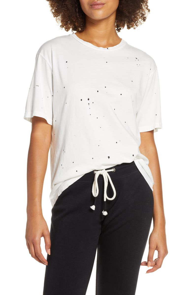 GROCERIES APPAREL Demi Boyfriend Tee, Main, color, WHITE SPLATTER