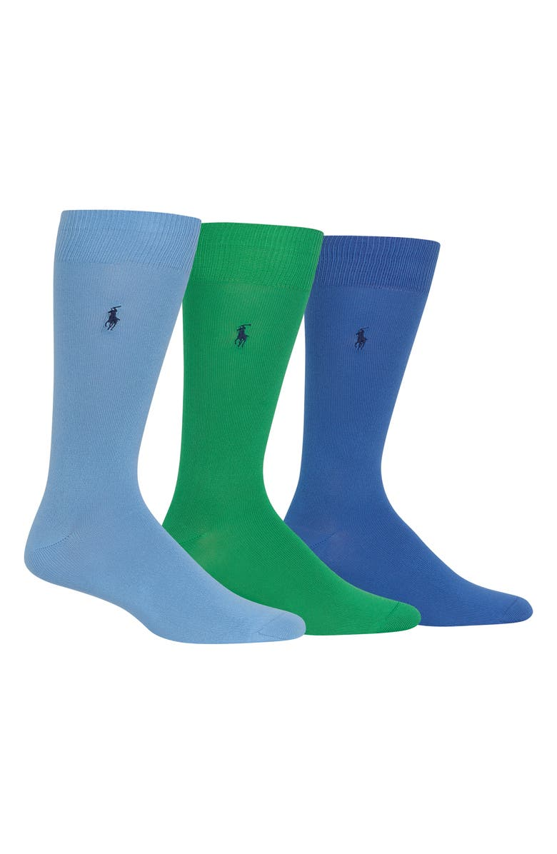 POLO RALPH LAUREN Assorted 3-Pack Supersoft Socks, Main, color, BLUE/ GREEN/ NAVY