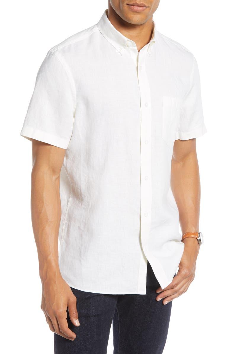 1901 Linen Slim Fit Shirt, Main, color, WHITE