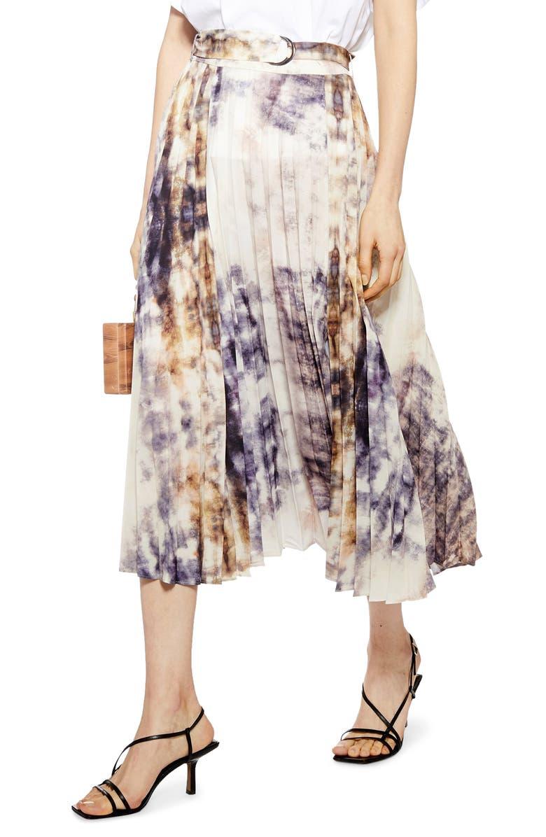 TOPSHOP Tie Dye Midi Skirt, Main, color, 020