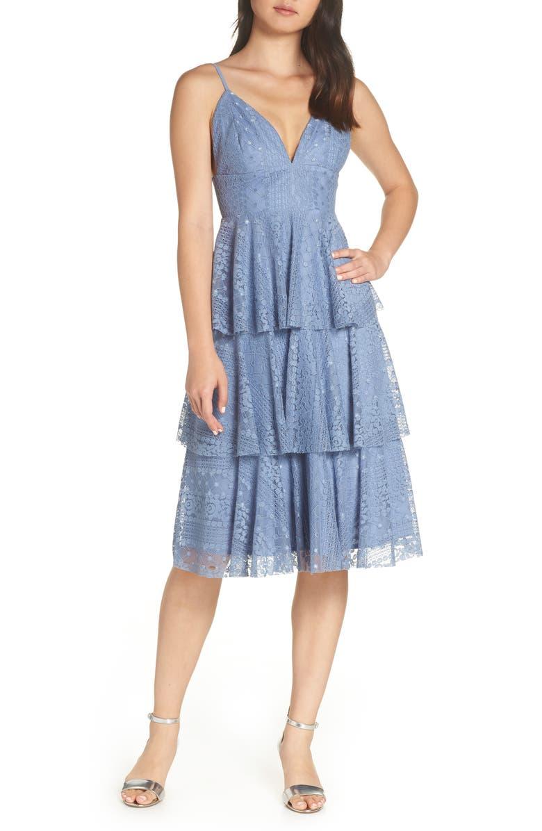 LULUS Endless Romance Tiered Lace Dress, Main, color, BLUE