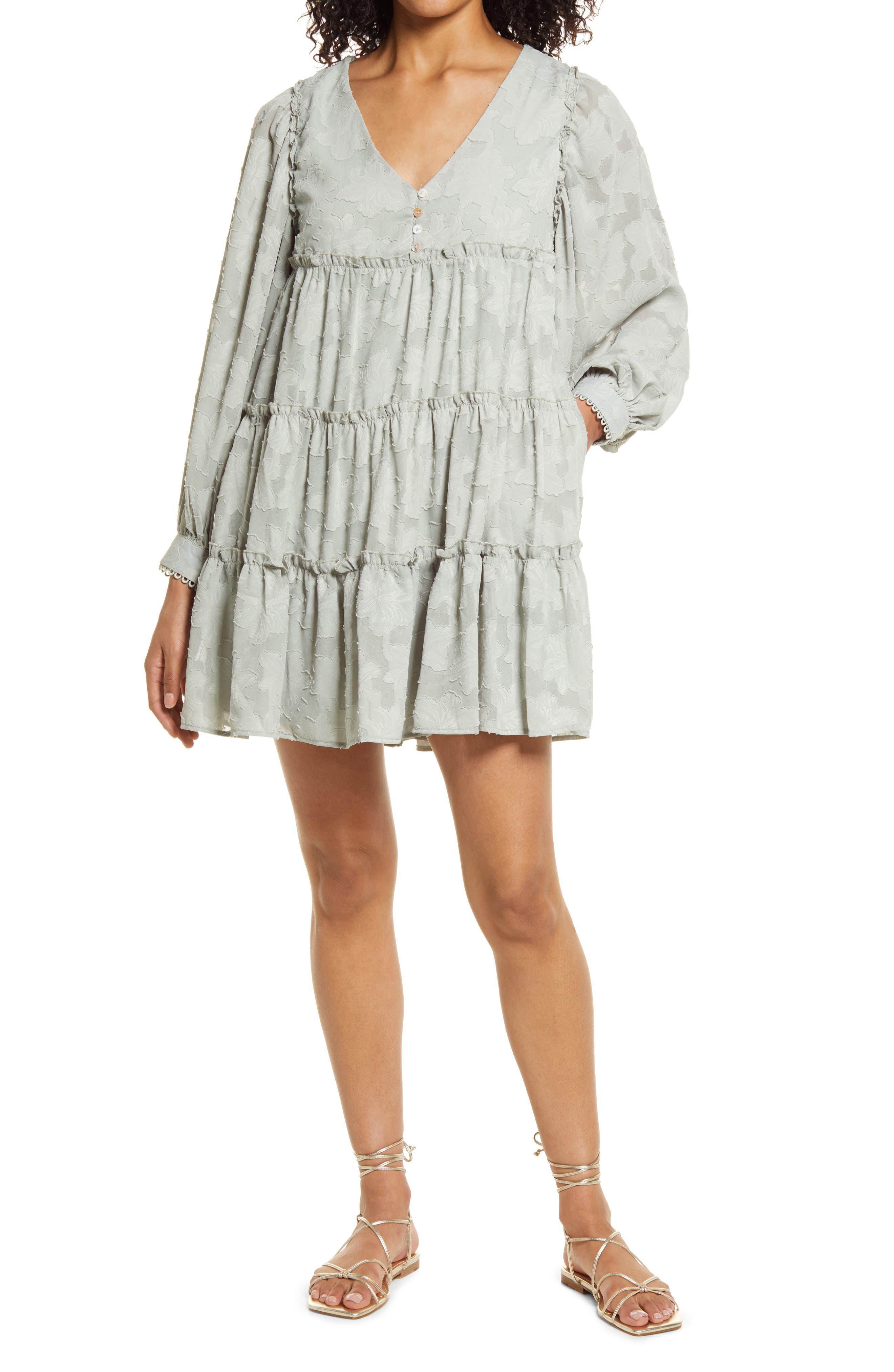 Floral Jacquard Long Sleeve Babydoll Dress