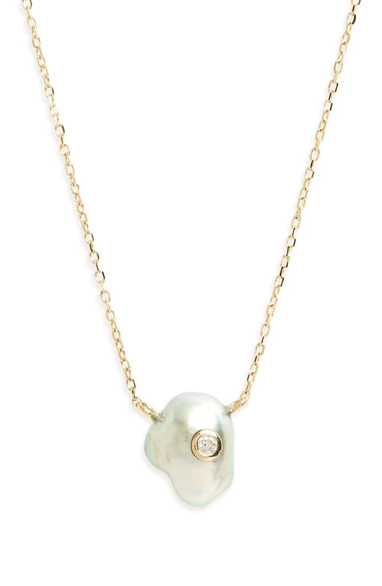 MIZUKI Sea of Beauty Pearl & Diamond Pendant Necklace, Main, color, YELLOW GOLD/ GREY PEARL