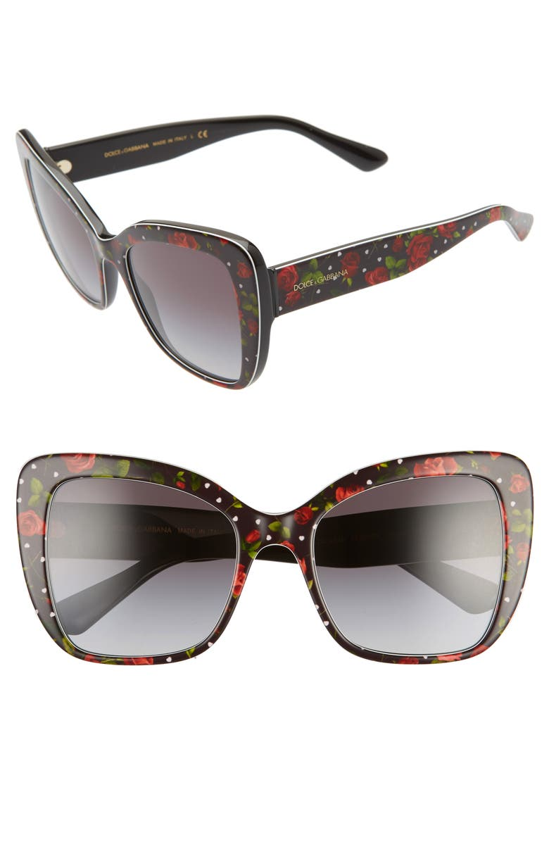 DOLCE&GABBANA 54mm Gradient Butterfly Sunglasses, Main, color, PRINT ROSE/ GREY GRADIENT
