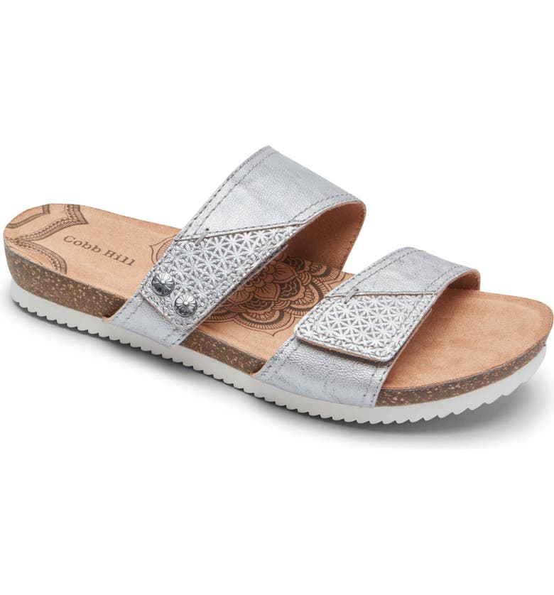 ROCKPORT COBB HILL Rockport Cob Hill Trinity Slide Sandal, Main, color, PEWTER LEATHER