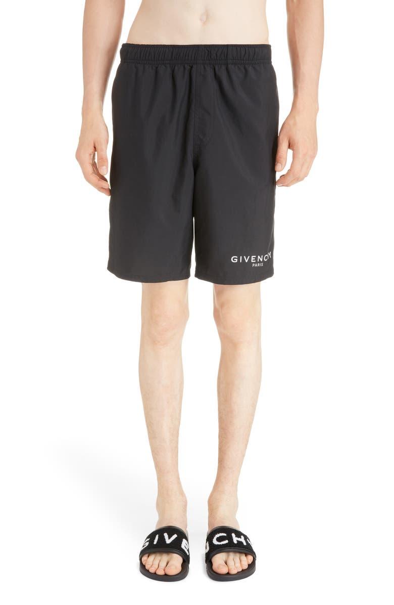 GIVENCHY Swim Trunks, Main, color, BLACK