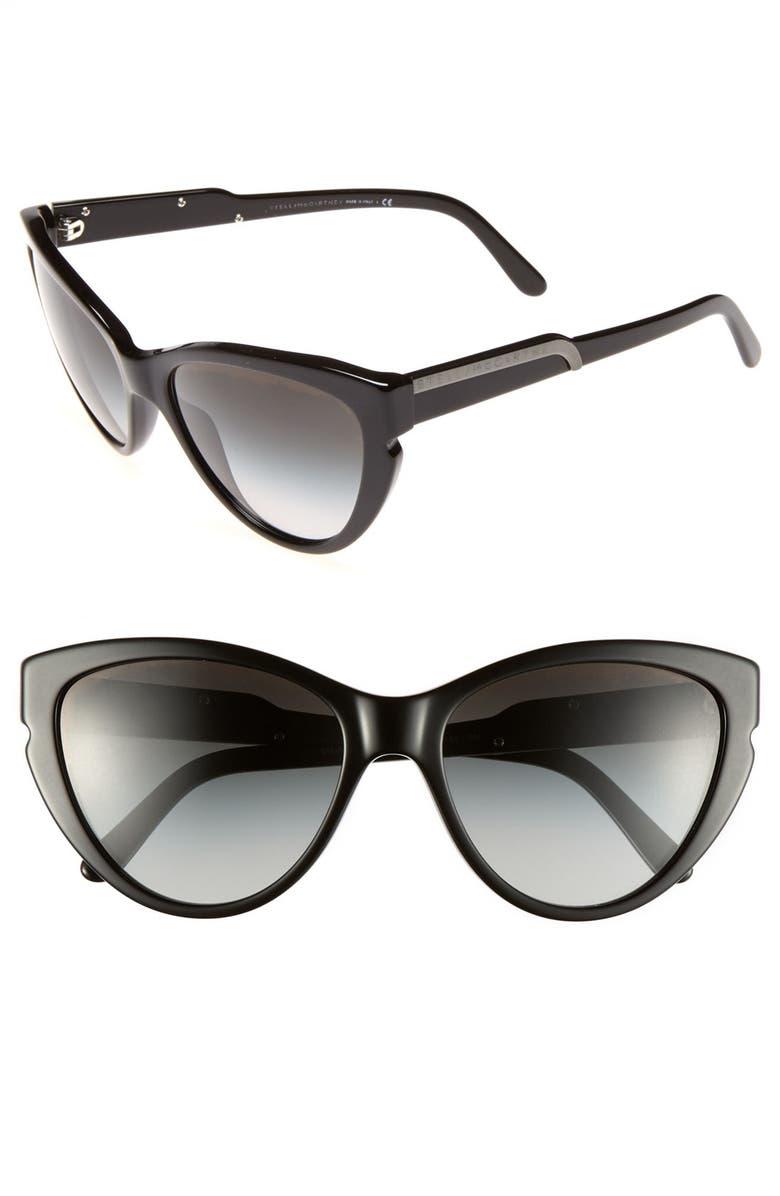 STELLA MCCARTNEY 58mm Cat's Eye Sunglasses, Main, color, 001