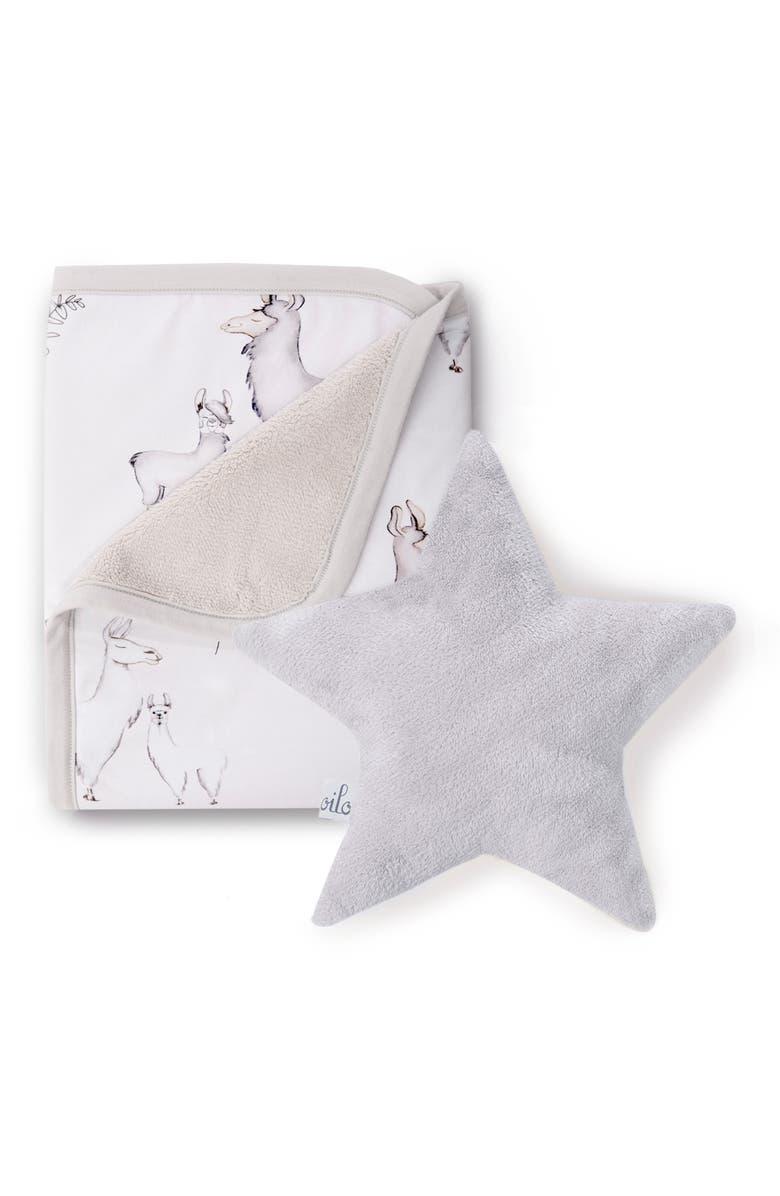 OILO Llama Cuddle Blanket & Star Pillow Set, Main, color, LLAMA