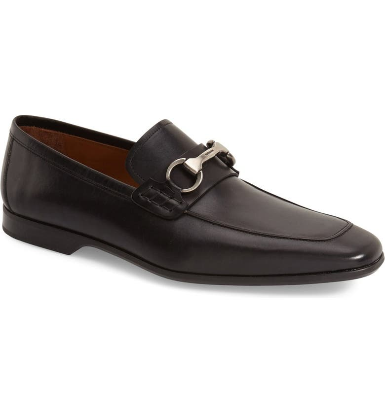 MAGNANNI Rafa II Apron Toe Bit Loafer, Main, color, BLACK LEATHER