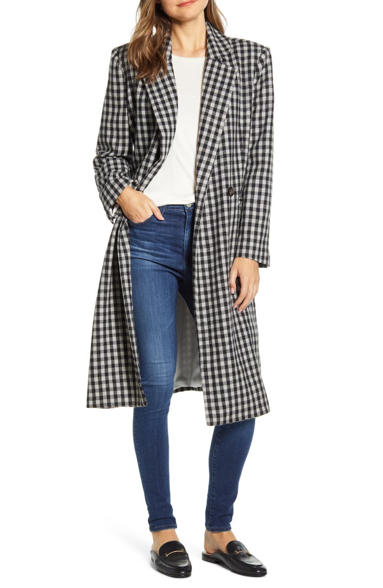 BEACHLUNCHLOUNGE Double Breasted Gingham Long Coat, Main, color, GULL GREY