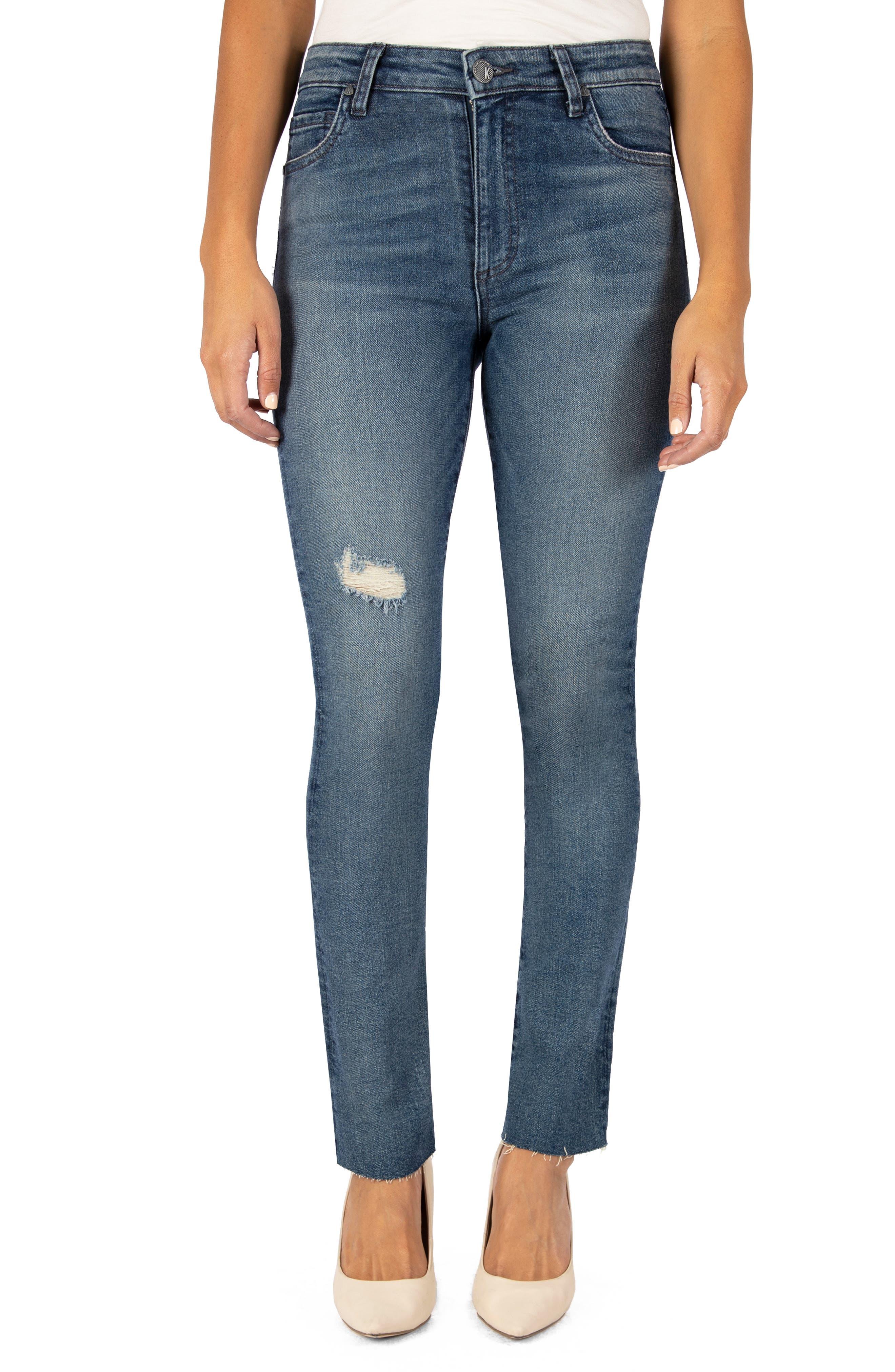 Chrissie High Waist Raw Hem Slim Straight Leg Jeans