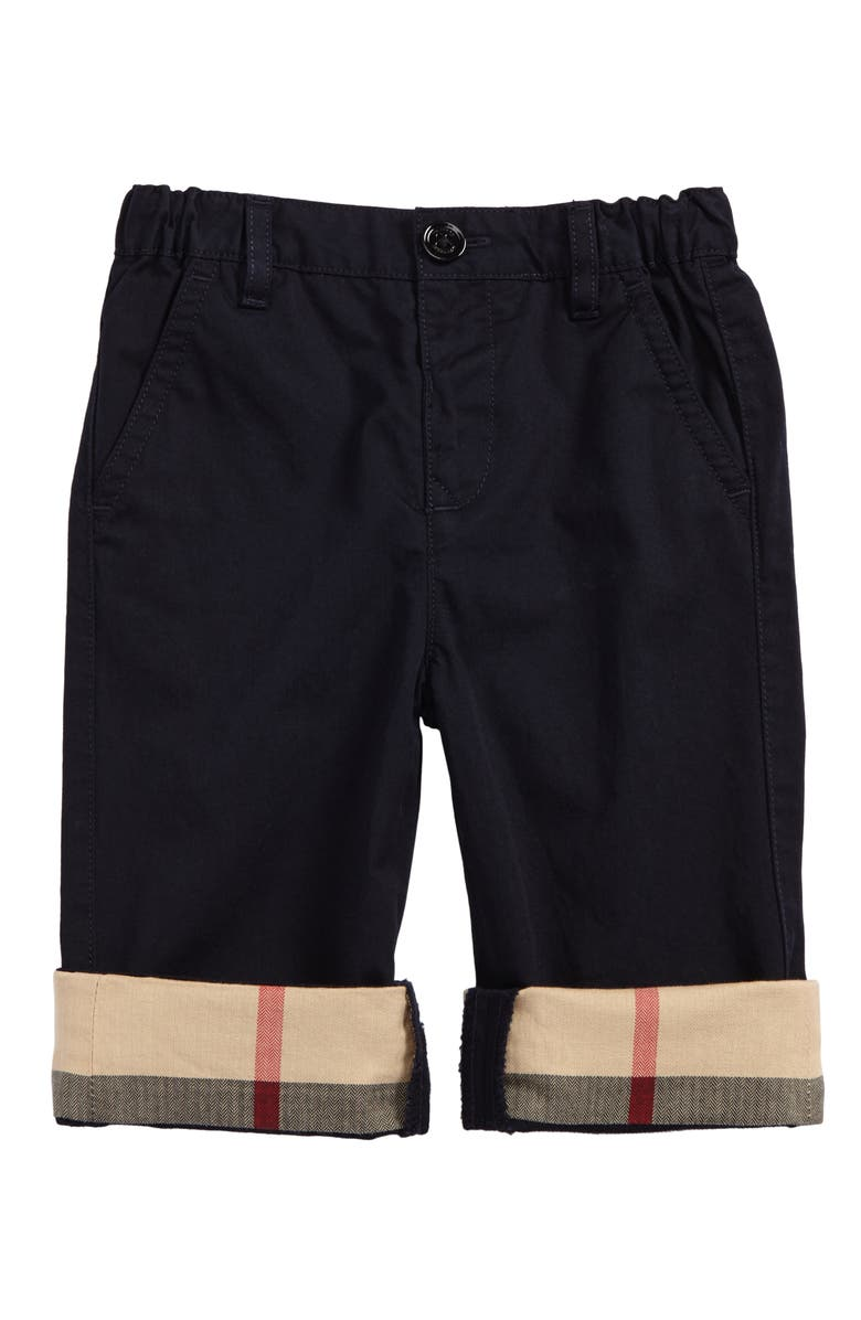 BURBERRY Ricky Check Cuff Chino Pants, Main, color, 412
